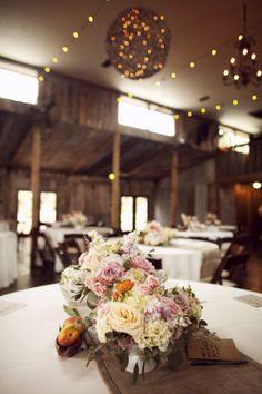 Rustic Wedding Table Decor/ Ceiling lights