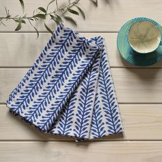 Block Printed Napkins // ibbi direct A beautiful splash of blue for your dining table
