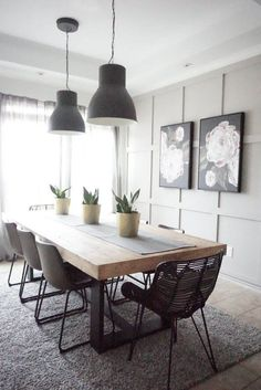 Modern Farmhouse Dining Table with Black Base and Natural To.- Modern Farmhouse Dining Table with Black Base and Natural Top Dining Room Table Decor, Dining Table Design, Modern Dining Table, Room Decor, Modern Farmhouse Table, Farmhouse Decor, Scandinavian Dining Table, Dining Sets, Dinning Table Decorations