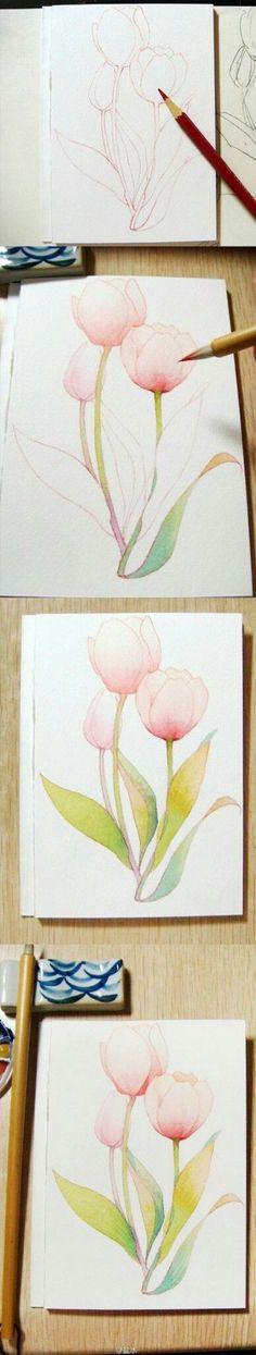 Watercolour Tutorials, Watercolor Techniques, Drawing Tutorials, Watercolour Painting, Art Tutorials, Watercolor Flowers, Painting & Drawing, Painting Tutorials, Painting Flowers