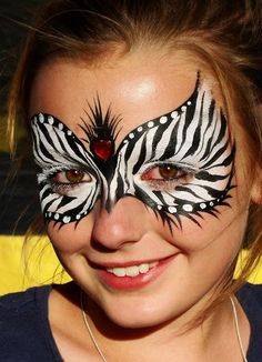 Christina Davison Zebra Mask with Heart Gem Face Painting