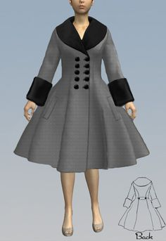 Double Breasted  50s  Swing Coat by Amber Middaugh 2015