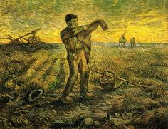 Evening - The End of the Day (after Millet), 1889 by Vincent van Gogh. Post-Impressionism. genre painting. Menard Art Museum, Komaki, Japan