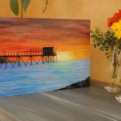 Peinture coucher de soleil sur carrelet et océan en charente maritime