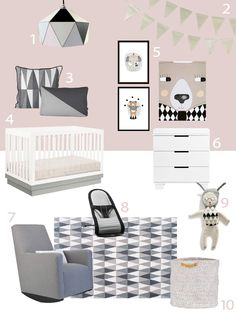 My Modern Nursery #65 Pink and Gray Harlequin and Triangles with Babyletto Harlow (ACRYLIC) + Modo 3-drawer changer
