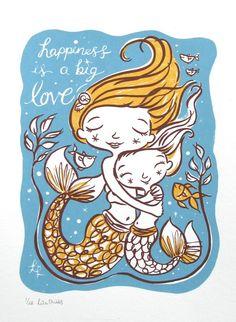 Big Love - original screen print.  Sister mermaids!