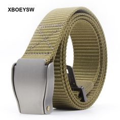 XBOEYSW Fashion Sport Nylon Belt With Zinc Metal Buckle 3.2cm Width 120cm Length Nylon Knitted For Young Men And Ladies