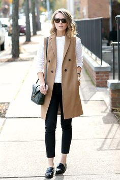 fall / winter - street chic style - street style - fall outfits - casual outfits - work outfits - office wear - business casual - white sweater + camel long vest + black ankle pants + black loafers + black shoulder bag + black sunglasses