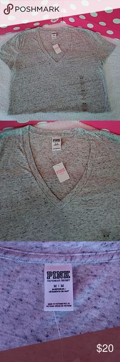 PINK Sleep Tee PINK Sleep Tee size - M. Grey in color and super soft. PINK dog logo on bottom corner. 60% cotton 40% polyester. Can also be worn as a regular t-shirt! PINK Victoria's Secret Intimates & Sleepwear