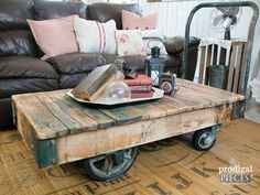 antique industrial railroad factory cart vtg coffee table with