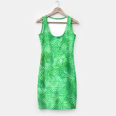 """Green zentangles"" Simple Dress by Savousepate on Live Heroes #dress #clothing #apparel #pattern #graphic #modern #abstract #doodles #zentangles #scrolls #spirals #arabesques #green #irish #stpatricksday #saintpatricksday"