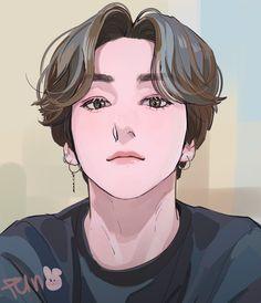 Jungkook Fanart, Fanart Bts, Anime Guys, Manga Anime, Anime Art, Boy Hair Drawing, Arte Indie, Indie Boy, Kpop Hair