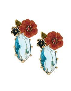Les Nereides Oval Diamante Earrings with Enamel Flower Detail