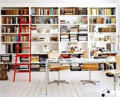 Home Office Inspiration - Tall Book Shelves #homeoffice #workspace #designinspiration - http://designspiration.net/image/418628864281/