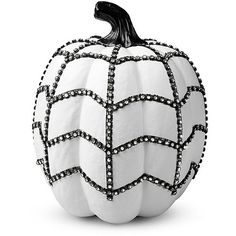 Improvements White Bling Pumpkin Halloween Decoration ($25) ❤ liked on Polyvore featuring home, home decor, holiday decorations, h-deco autumn, artificial pumpkins, decorative pumpkins, faux pumpkins, halloween decor, white bling halloween pumpkin and autumn home decor