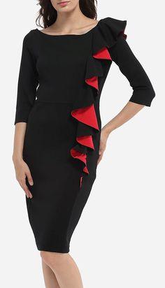 Falbala Boat Neck Dacron Color Block Bodycon-Dress By Fashionmia #affiliate #fashion #bossbabe