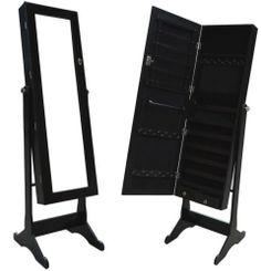 Black Large Mirrored Jewelry Cabinet Armoire Organizer Storage Box Stand Cheval