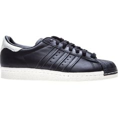 Adidas Originals Superstar Sneakers ($120) ❤ liked on Polyvore featuring shoes, sneakers, black, black trainers, leather shoes, adidas originals sneakers, adidas originals trainers and lacing sneakers
