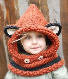 "crochet/knit fox cowl.  miiiiight make one for the kidlets - even if I've had enough of hearing ""what does the fox say?"""