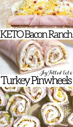 KETO Bacon Ranch Turkey Pinwheels Turkey Bacon Ranch Pinwheels are a crowd-pleasing, five-minute prep lunch or appetizer. My kids gobbled these turkey pinwheels up when I made them for a party recently. Low Carb Keto, Low Carb Recipes, Cooking Recipes, Easy Recipes, Dinner Recipes, Lunch Recipes, Gluten Free Recipes For Lunch, Keto Lunch Ideas, Easy Appetizer Recipes