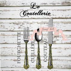 Vintage French Victorian Style Cutlery Large  by CreatifBelle