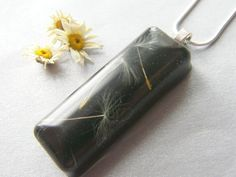 Dandelion Seeds in Black Resin Necklace Pendant - Nature Specimen - 3 Wishes £19.00