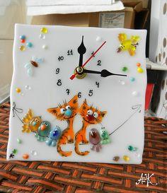"""Купить Настольные часы """"Котокляксы"""" - рыжий, кот, кошка, март, влюбленные, весна, любовь, подарок"""