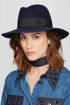 Maison Michel - Virginie Rabbit-felt Fedora - Navy -
