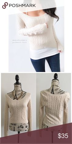 """Free People Cropped Stretchy Sweater ✦ this sweater has a soft light tan cable knit, with a slightly cropped hemline✦{I am not a professional photographer, actual color of item may vary ➾slightly from pics}  ❥chest:16"""" ❥waist:13"""" ❥length:19"""" ❥sleeves:26.5"""" ➳material/care:cotton, wool, polyester,nylon/hand wash  ➳fit:true w/stretch ➳condition:good no rips/stain  ✦20% off bundles of 3/more items ✦No Trades  ✦NO HOLDS ✦No transactions outside Poshmark  ✦No lowball offers/sales are final Free…"""