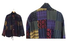 90s Fair Trade Ecuadorian Jacket - Cotton Blend - Vintage Winter Sun - Mixed Print - Patchwork - Purple Yellow Red Green Black L XL Oversize by Iterations on Etsy