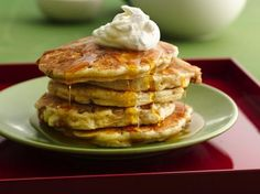 Apple Crisp Pancakes - Apple crisp and pancakes rolled into one. Diced apples add chunky goodness to the Bisquick® batter and then before flipping, the pancakes get topped with a brown sugar-oatmeal streusel.