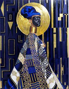 Lina Iris Viktor – Syzygy – 2015. Or 24 carats, acrylique, gouache et impression sur canvas. Il y a quelque chose d'universel dans les oeuvres de Lina Iris Viktor. Se mettant en s…