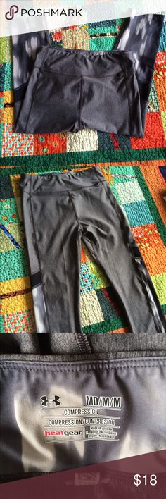 Under Armour Gray Capris Very Good  condition pants👌Please ask any questions. Reasonable offers considered. Please use offer feature. Smoke and pet free home. I ship next day, offer a bundle discount, and follow PM rules. 👏 Under Armour Pants Capris