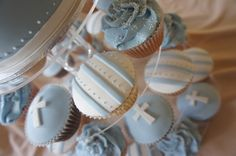 Powder blue and white Christening cupcakes