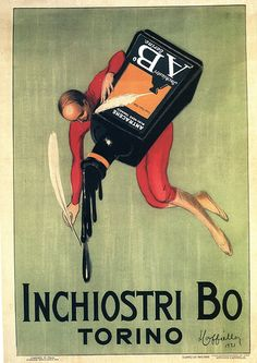 Inchiostri Bo Torino by Leonetto Cappiello Vintage Italian Posters, Pub Vintage, Vintage Advertising Posters, Vintage Labels, Vintage Advertisements, Old Poster, Poster Ads, Old Commercials, Old Ads