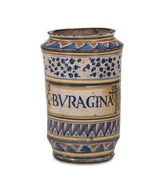 Albarello Siena, bottega della fine del XV inizi del XVI secolo  Maiolica a gran fuoco, altezza cm 28,1Buono stato di conservazione, lieve felure e sbeccature alla bocca