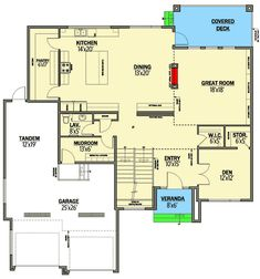 Modern House Plan with Roof Top Deck - 81683AB floor plan - Main Level