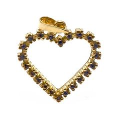 Pingente Coração com 22 Safiras¸ em Ouro Amarelo 18K