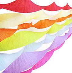 SUNBEAUTY 7er Set 7 Farben Regenbogen Krepppapier Kreppb�nder Deko Party Feier Dekoration (7 St�ck)