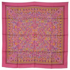 Hermes NEW Multi-Colored Les Jardins D'Armenie 90cm Silk Scarf | From a collection of rare vintage scarves at https://www.1stdibs.com/fashion/accessories/scarves/