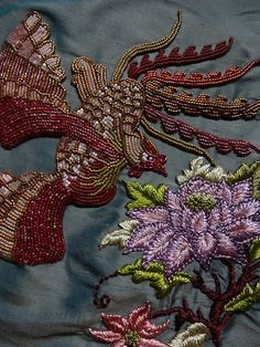 hreilly:  Embroidery and beading on silk, part of my new sculpture in progress. Inspired by Peranakan designs