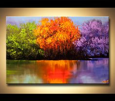 colorful landscape painting blooming trees on a lake - Landscape and Modern Art Painting