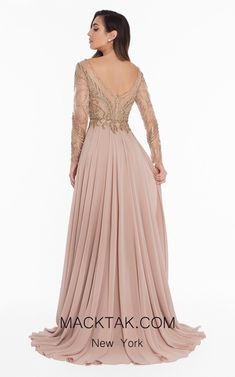 Terani Couture - Beaded Long Sleeve Chiffon A-line Gown Beaded Evening Gowns, Evening Dresses, Rose Gold Wedding Dress, Mother Of The Bride Dresses Long, Beautiful Evening Gowns, Terani Couture, Nude Dress, A Line Gown, Chiffon Gown