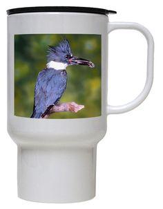 Belted Kingfisher Polymer Plastic Travel Mug
