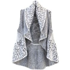 White Leopard Fuzzy Knit Draped Sweater Vest (£19) ❤ liked on Polyvore featuring tops, sweaters, white, sleeveless sweater, leopard print sweater, knit sweater vest, leopard sweater and collared sweater