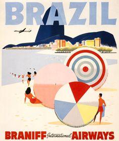 Brazil Travel Poster. Vintage travel poster. #vintage #brazil #1950s #beach