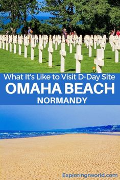 Visit D-Day of World War II in Normandy France. Omaha Beach, an American landing site, saw severe battle. Cemetery at Colleville-sur-Mer is resting place of almost 10,000 soldiers. D Day Beach, Bayeux Tapestry, Normandy France, Plan Your Trip, World War Ii, Cemetery, World War Two, Wwii