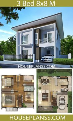 House Plans 8x8 with 3 bedrooms Small Modern House Plans, Modern Small House Design, Sims House Plans, Beautiful House Plans, House Layout Plans, Dream House Plans, Home Building Design, Home Design Plans, Building A House
