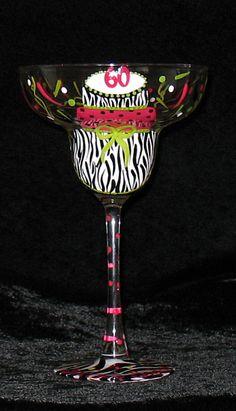 Personalized Zebra Print Birthday Glass  Hand Painted by Artbykris, $39.99
