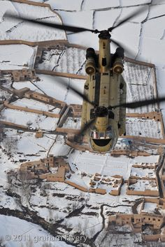 Royal Air Force Chinook over village - Afghanistan